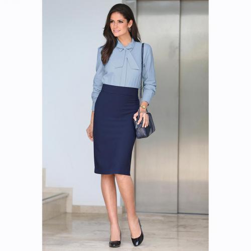 cceb0c734da8 3 SUISSES - Jupe longue coupe crayon fente dos femme - Bleu - Jupes longues  et
