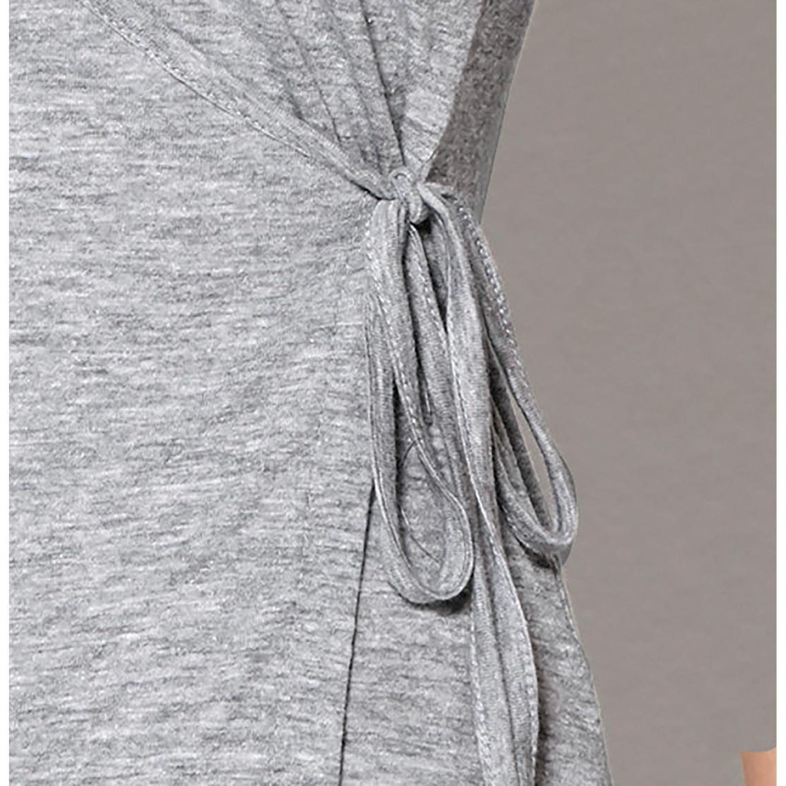 Tee-shirt col en V croisé manches courtes femme Exclusivité 3SUISSES - gris  chiné 3 24cae8e669c