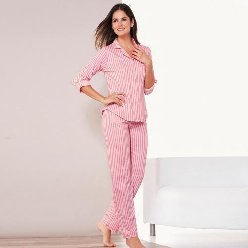 d386ea80d3f62 3 SUISSES - Pyjama rayé chemise manches longues pantalon femme - rayé rose  - Ensembles et