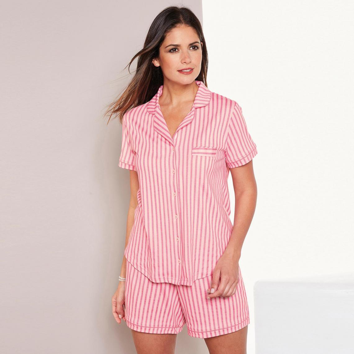 Pyjama rayé chemise manches courtes et short femme Exclusivité 3SUISSES -  rayé rose 3 SUISSES Lingerie 0d8f3dad847