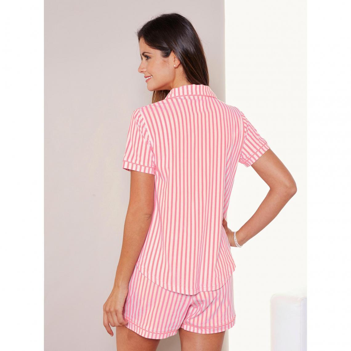 Pyjamas 3 SUISSES Cliquez l image pour l agrandir. Pyjama rayé chemise  manches courtes et short femme Exclusivité ... 2ac9d3e4097