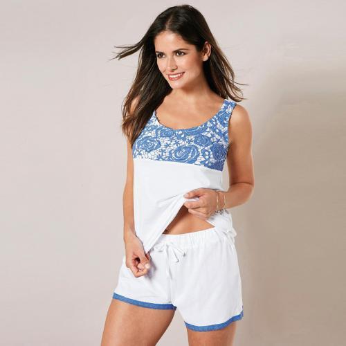a35c4f8a03570 3 SUISSES - Pyjama sans manches avec guipure et short femme - Blanc -  Ensembles et