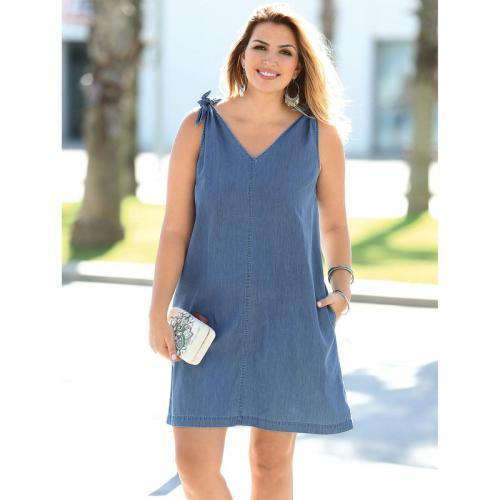 5a16f050acc4 3 SUISSES - Robe en jean sans manches col en V femme - Bleu - Robes