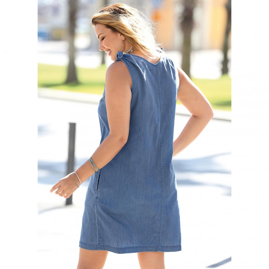 robe en jean sans manches col en v femme bleu 3 suisses. Black Bedroom Furniture Sets. Home Design Ideas