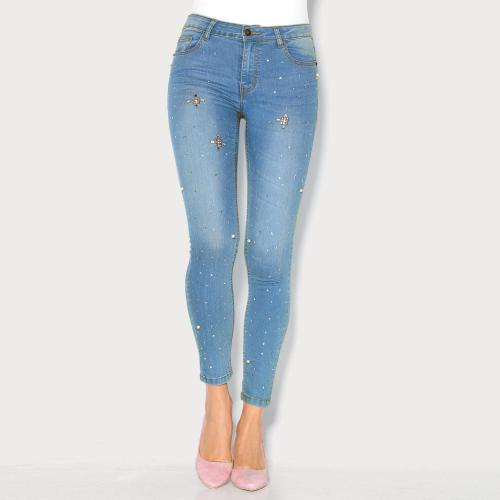 Jean skinny aspect usé pierres fantaisie femme 3 SUISSES COLLECTION 3 SUISSES