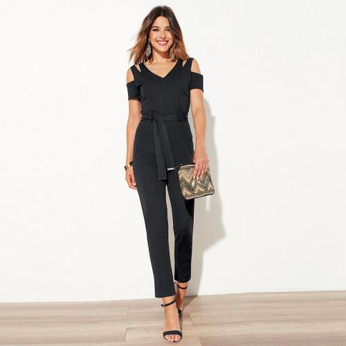 c94100dda1757 Combinaison manches courtes et bretelles femme - Noir