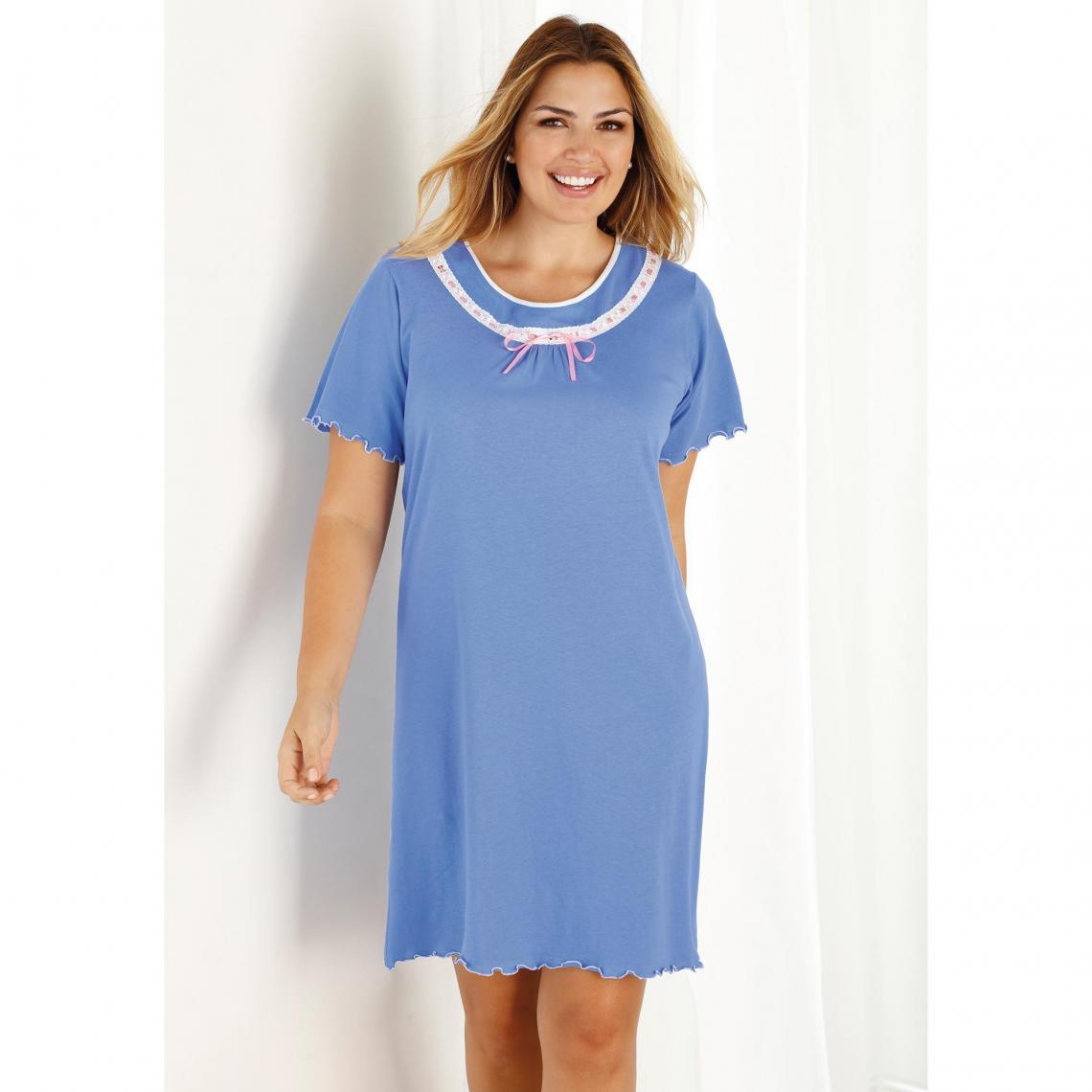 Lavande Manches Courtes De Imprimée Nuit Femme Bleu Chemise 3 4x0tqIW