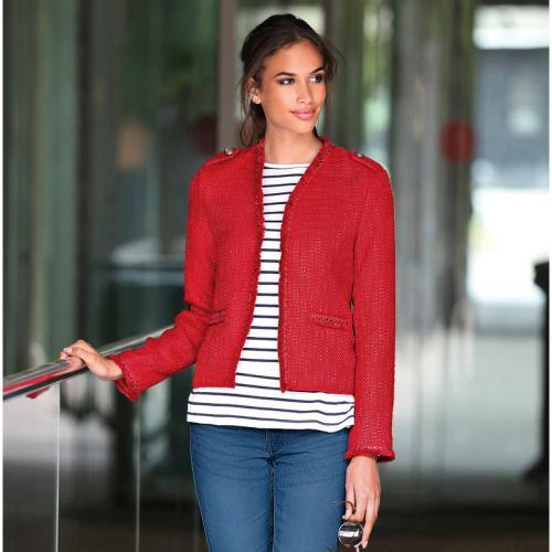 3 SUISSES - Veste col en V et biais fantaisie contrastés femme Exclusivité  3SUISSES - Rouge e0bf893c39e