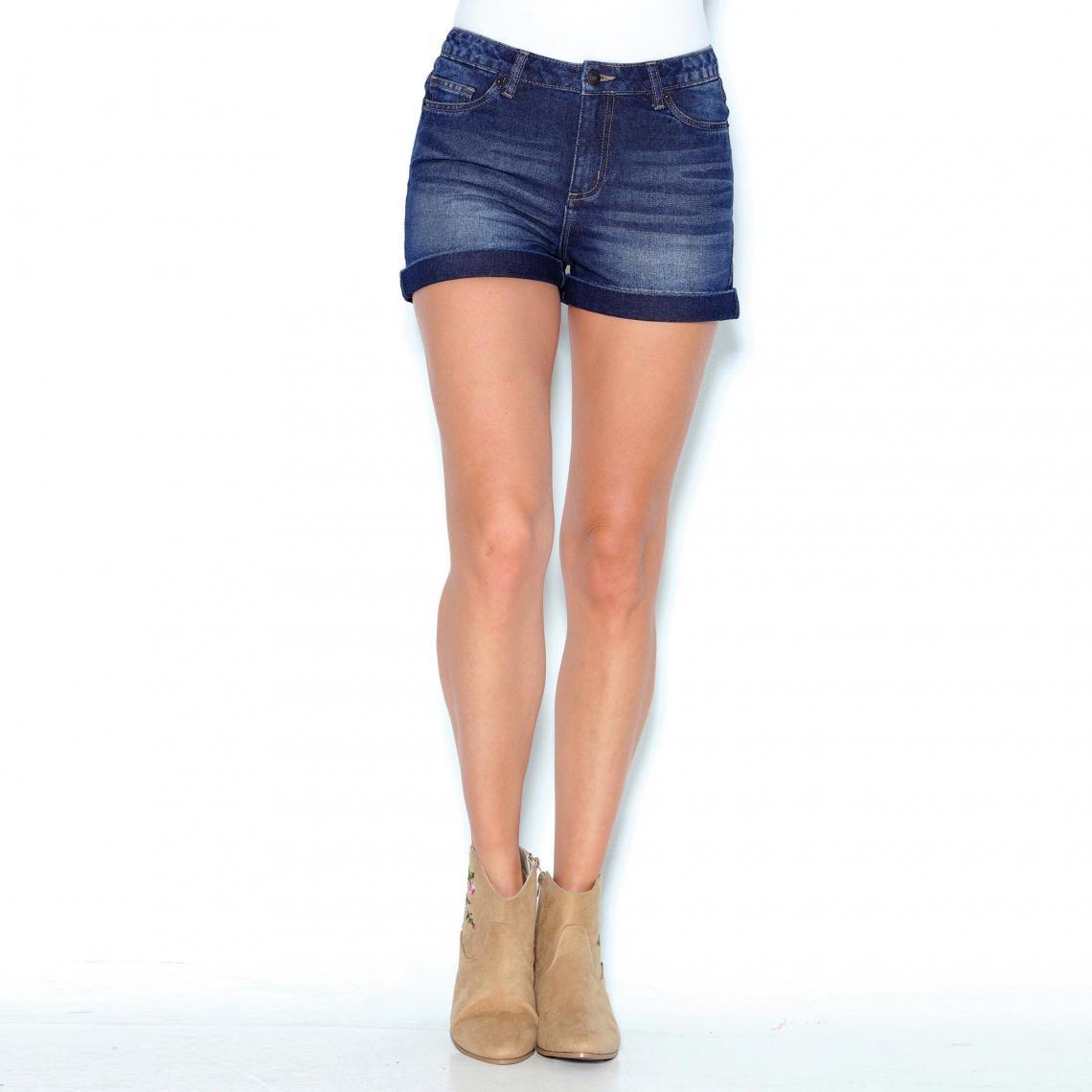 Short en jean coupe 5 poches bas à revers femme bleu foncé 1 Avis Plus de détails