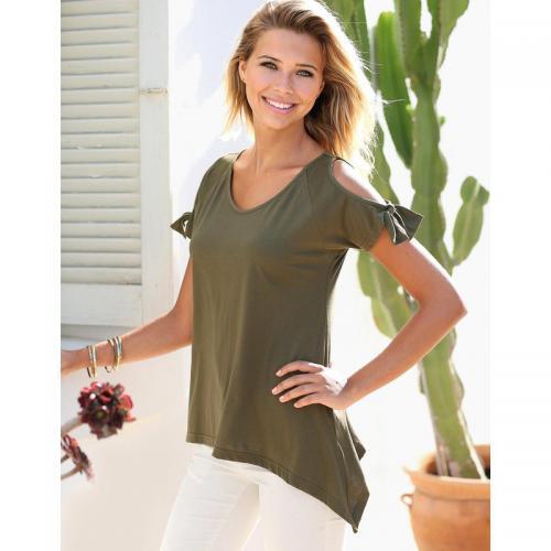 3 Suisses - Tee-shirt manches courtes ouvertes à nouer femme Exclusivité  3SUISSES - Kaki 0247216255ff