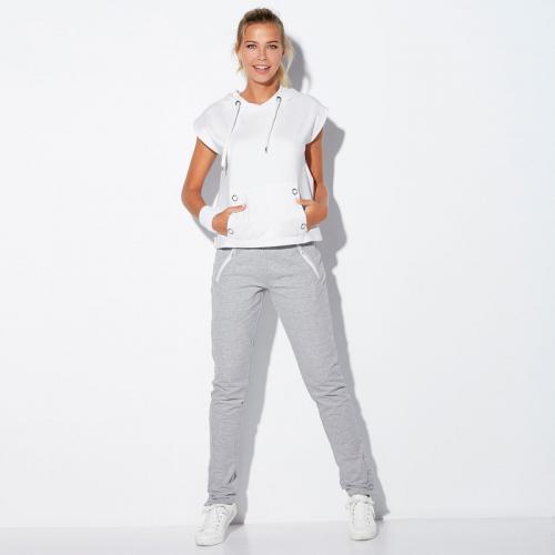 3 SUISSES - Pantalon taille élastique bas avec pressions femme Exclusivité  3SUISSES - gris chiné - 8384e67a174