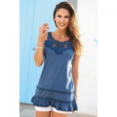 7f2a0b956bc8 3 SUISSES - Tee-shirt à bretelles avec guipure et volant femme - Bleu -