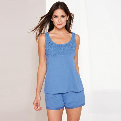3 SUISSES - Pyjama sans manches avec guipure et short femme Exclusivité  3SUISSES - Bleu - 73936b9d96a