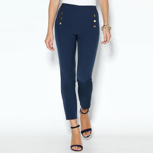 3 Suisses - Pantalon taille élastique boutons fantaisie femme Exclusivité  3SUISSES - Bleu - Pantalons femme c729188a18c