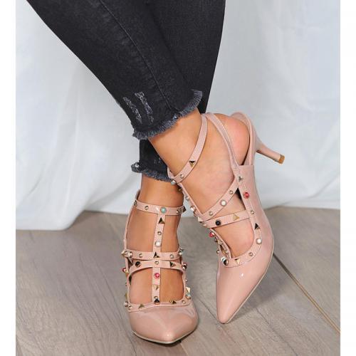 7b400622208455 3 SUISSES - Chaussures à talon bout pointu et perles femme - Rose -  Escarpins