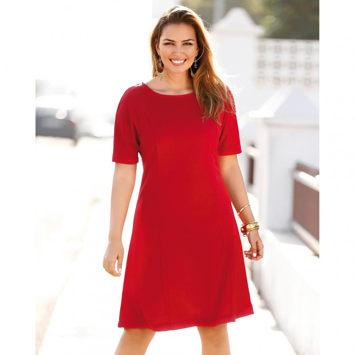 Robe Unie Cintree Evasee Manches Aux Coudes Femme Rouge 3 Suisses