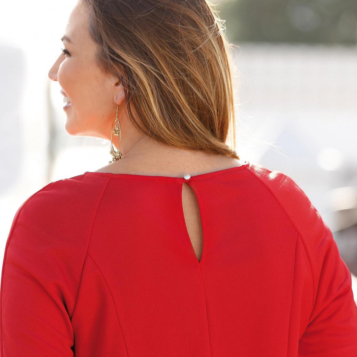 b37a071c87f Robe unie cintrée évasée manches aux coudes femme - Rouge