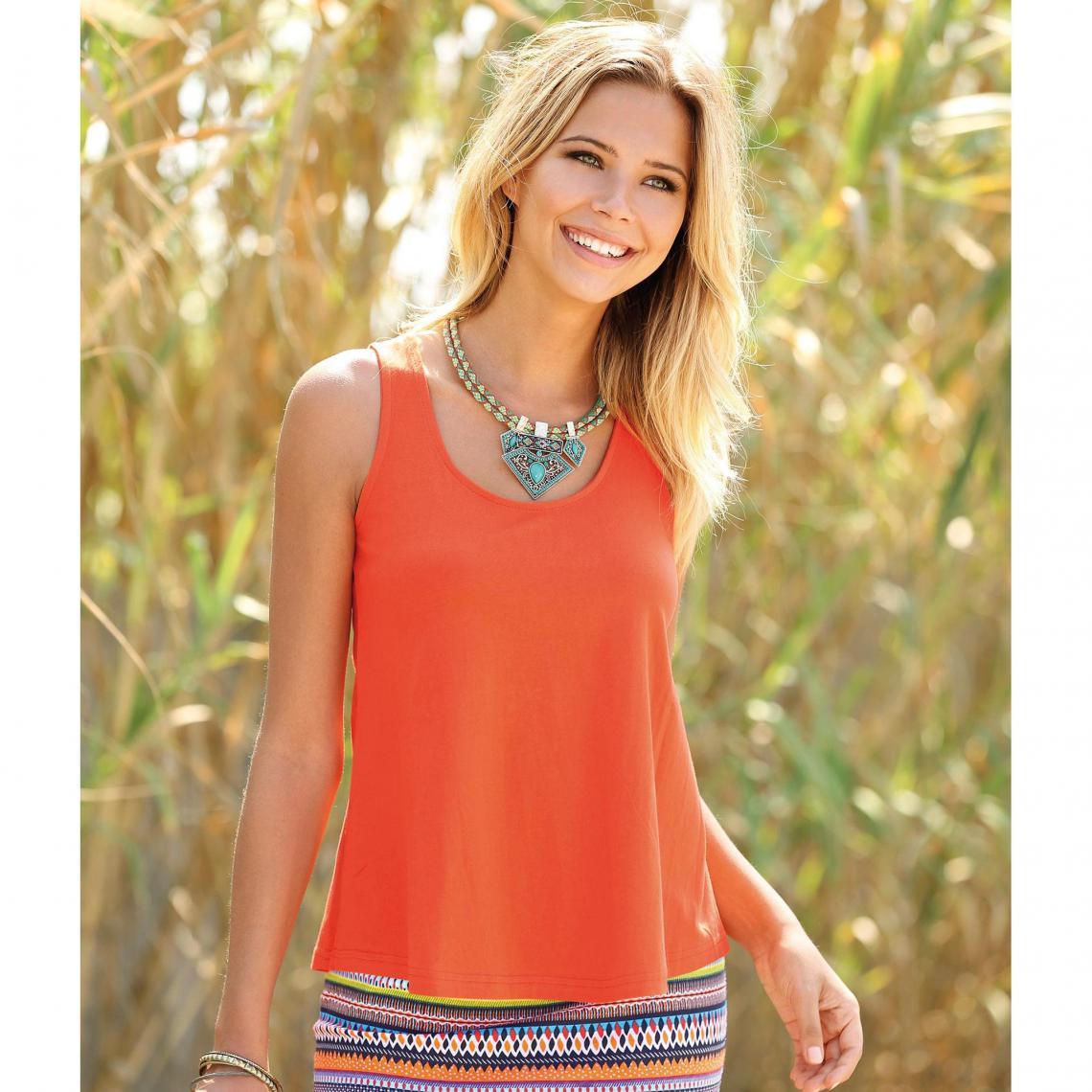 Tee-shirt à bretelles boutonnières enlacées femme - Orange Qx772