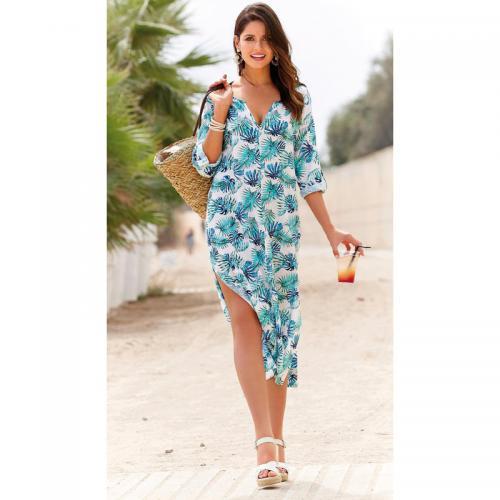 c166324c5db 3 SUISSES - Robe longue fendue manches 3 4 ajustables femme - Imprimé  Turquoise -