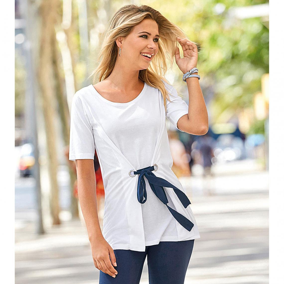 T-shirt manches courtes oeillets et ceinture - 3 SUISSES - Modalova