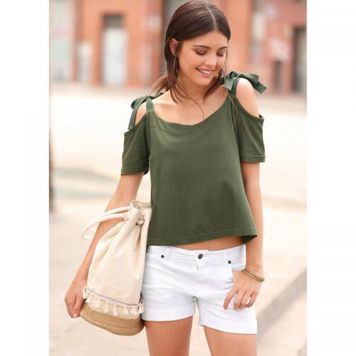 3 Suisses - Tee-shirt bretelles à nouer manches courtes femme Exclusivité  3SUISSES - Vert 91212d9765f9