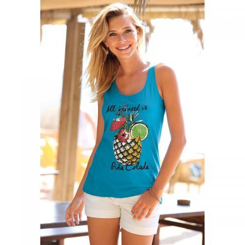 3 Suisses - Tee-shirt imprimé ananas à bretelles fronces femme Exclusivité  3SUISSES - Turquoise 02fd900103b5