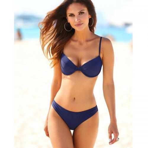 212bdbb5d3 3 SUISSES - Bikini uni armatures et bretelles ajustables femme - Bleu  Marine - Maillots de