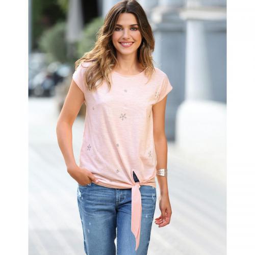 446acf8597c5 3 SUISSES - Tee-shirt manches courtes bas à nouer strass femme - Rose -