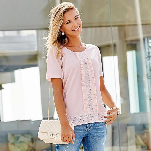 3 SUISSES - Tee-shirt manches courtes broderie suisse femme - Rose