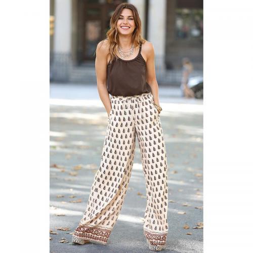 2e588ce5f5049 3 Suisses - Pantalon imprimé taille élastique et cordon femme Exclusivité  3SUISSES - Imprimé Beige -