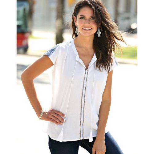 411c3575b75a 3 SUISSES - Blouse manches courtes broderie et cordons femme - Blanc -  Vêtements femme sweet