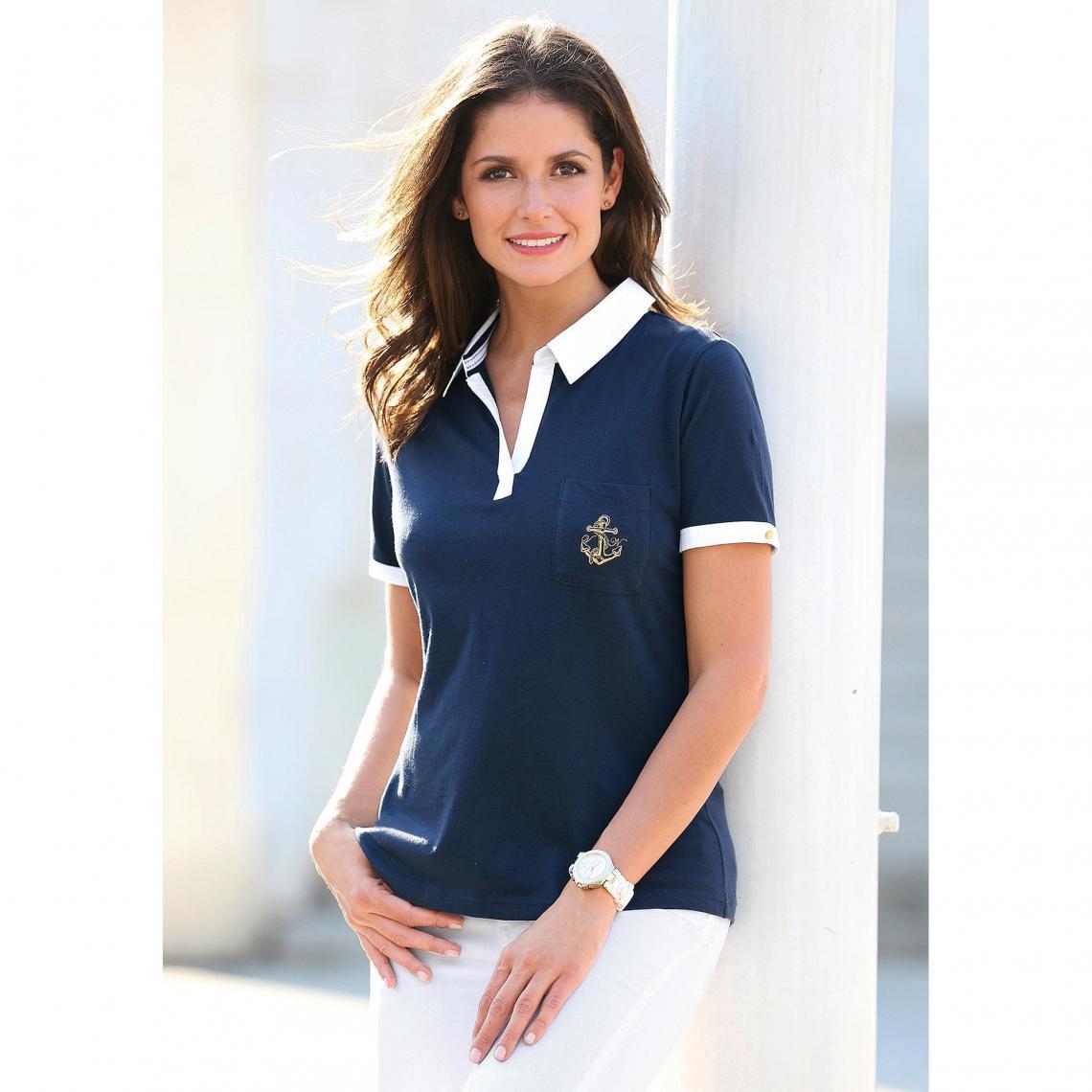 cb3346de717 Tee-shirt polo manches courtes poche plaquée femme - Bleu Marine 3 SUISSES  Femme