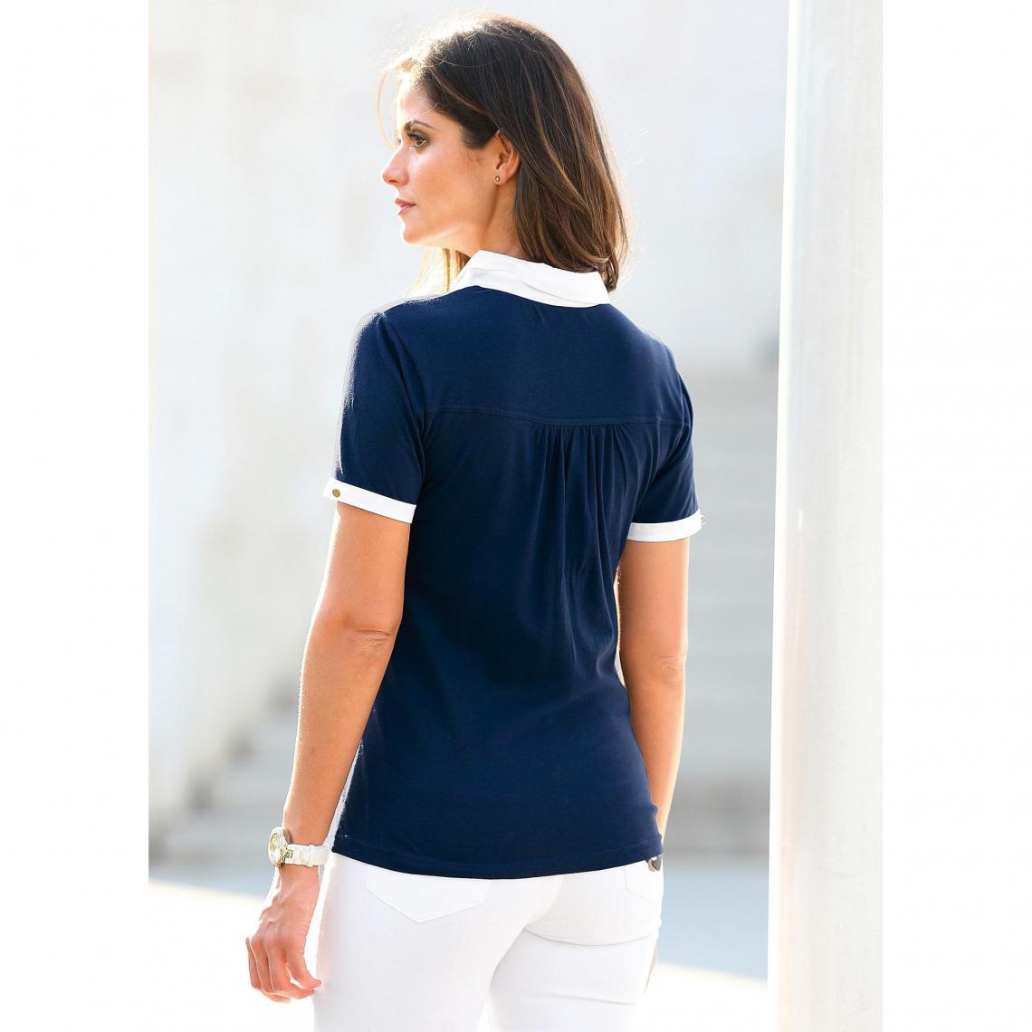 70b497fe421 Tee-shirt polo manches courtes poche plaquée femme - Bleu Marine