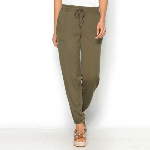3 SUISSES - Pantalon taille et bas élastiques poches femme Exclusivité  3SUISSES - Kaki - Pantalons 083403aeab1