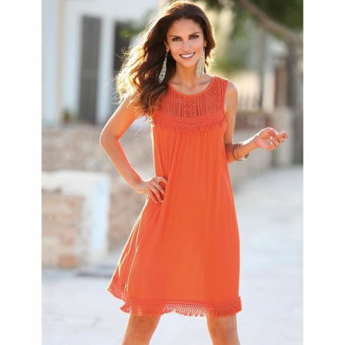 3 Suisses - Robe sans manches guipure fronces cordons femme Exclusivité 3SUISSES - Orange - Robes courtes femme
