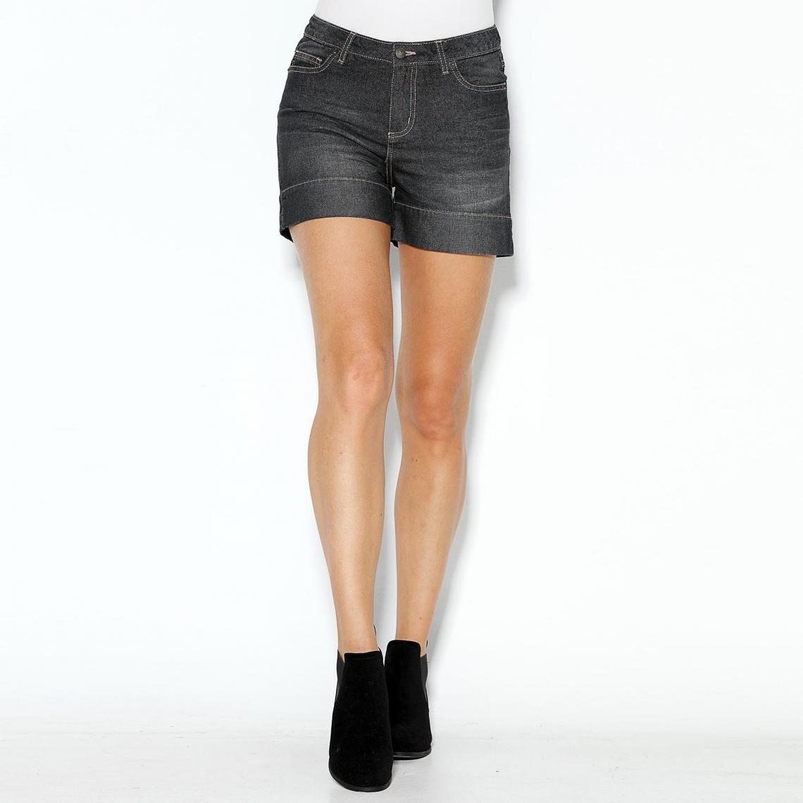Short en jean coupe 5 poches bas à revers femme Noir | 3