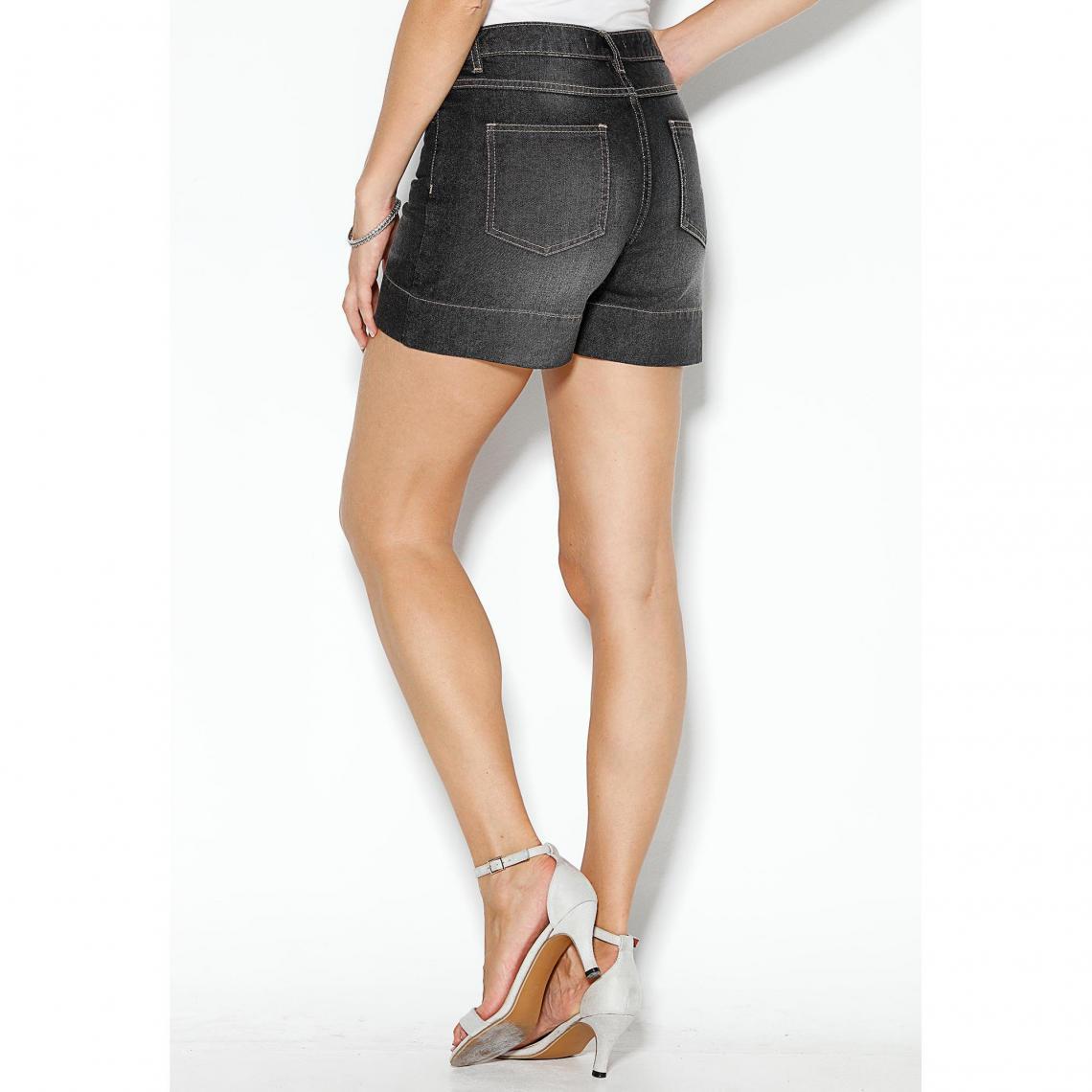 Short en jean coupe 5 poches bas à revers femme - Noir tVVDy