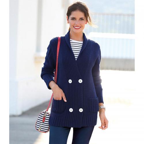 3 Suisses - Gilet col croisé manches longues et poches femme Exclusivité  3SUISSES - Bleu Marine 7d74e8ec1a0