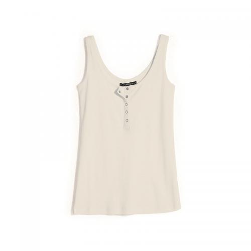 b5017da9ee1f89 3 SUISSES - Tee-shirt à bretelles col rond à pressions femme - ÉCRU -