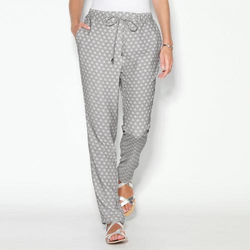 c75a132dc434 3 SUISSES - Pantalon imprimé taille élastique et cordon femme - Imprimé  Gris Perle - Pantalons
