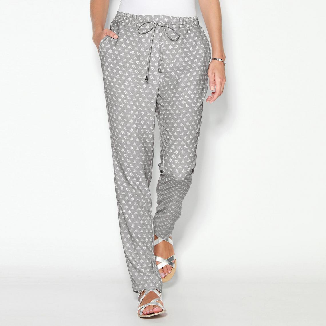 Pantalon imprimé taille élastique et cordon femme Exclusivité 3SUISSES - Imprimé  Gris Perle 3 SUISSES Femme 0d10cb36eb3