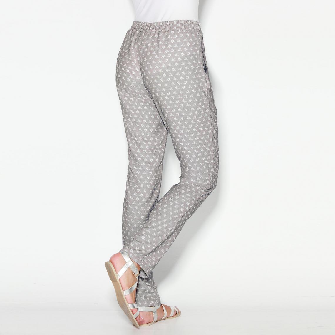 Pantalon imprimé taille élastique et cordon femme Exclusivité 3SUISSES - Imprimé  Gris Perle 3 SUISSES 2ced3c1c301