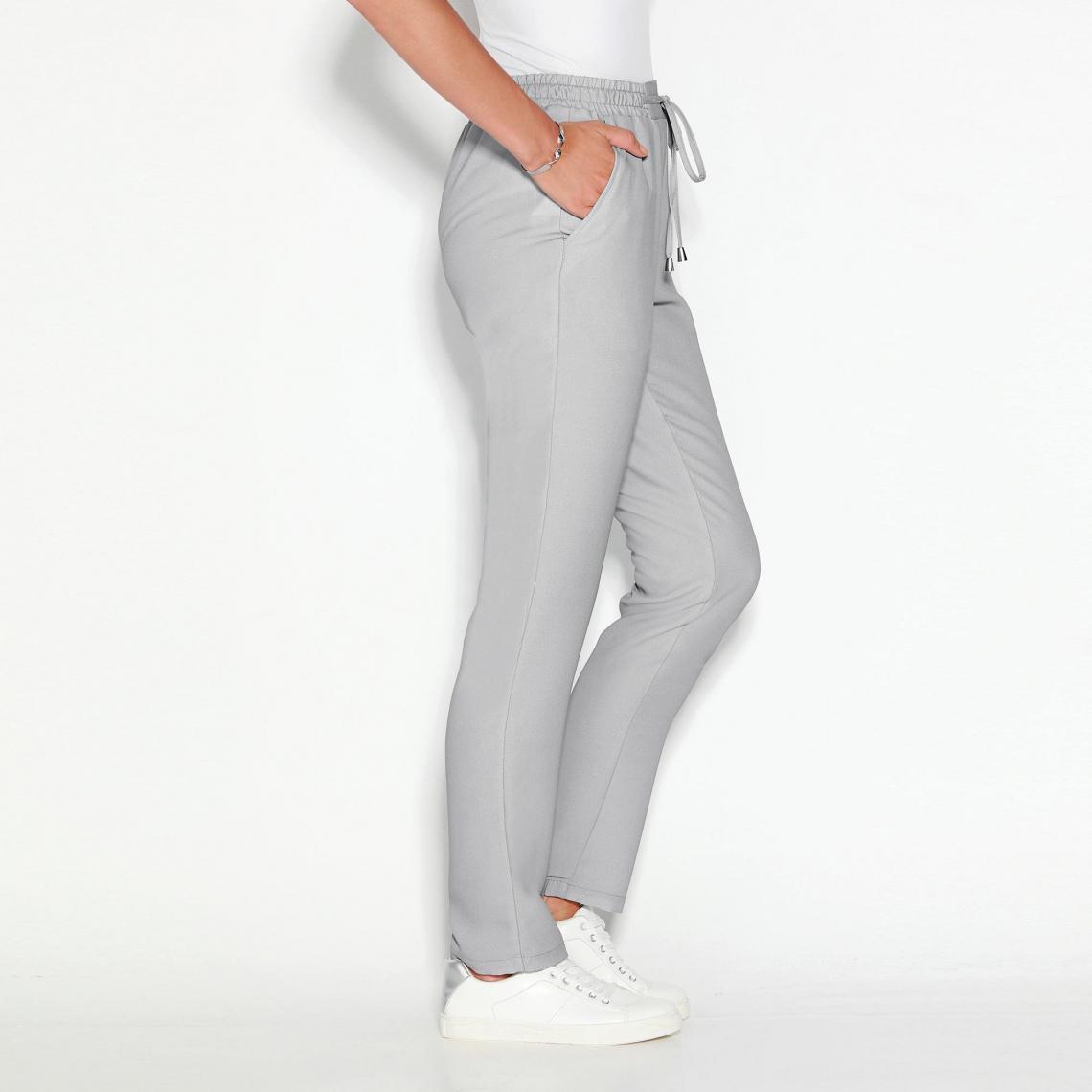 Pantalon uni taille élastique et cordon femme Exclusivité 3SUISSES - Gris  Perle 3 SUISSES Femme fb1bc232040
