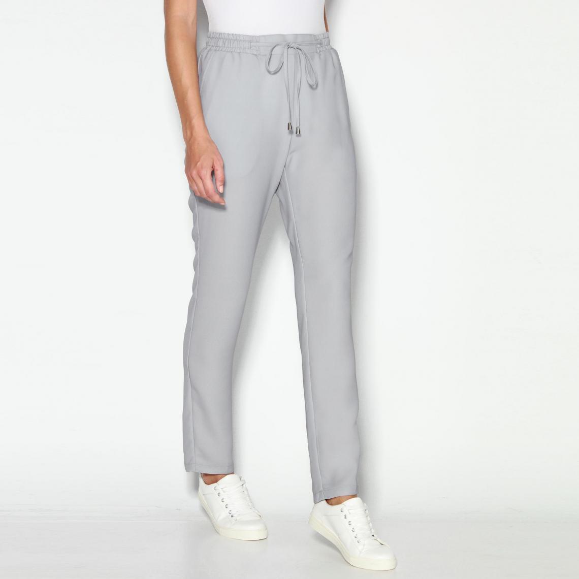 Pantalons larges femme 3 SUISSES Cliquez l image pour l agrandir. Pantalon  uni taille élastique et cordon femme Exclusivité 3SUISSES - Gris Perle ... fce6f68a226