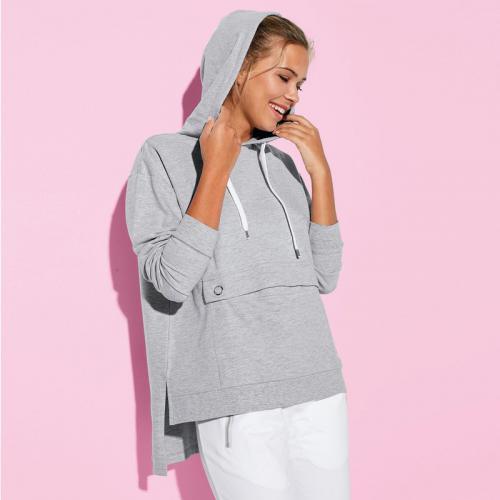 3 SUISSES - Sweat asymétrique à capuche et poche femme Exclusivité 3SUISSES  - gris chiné - 53d15aa3fb9