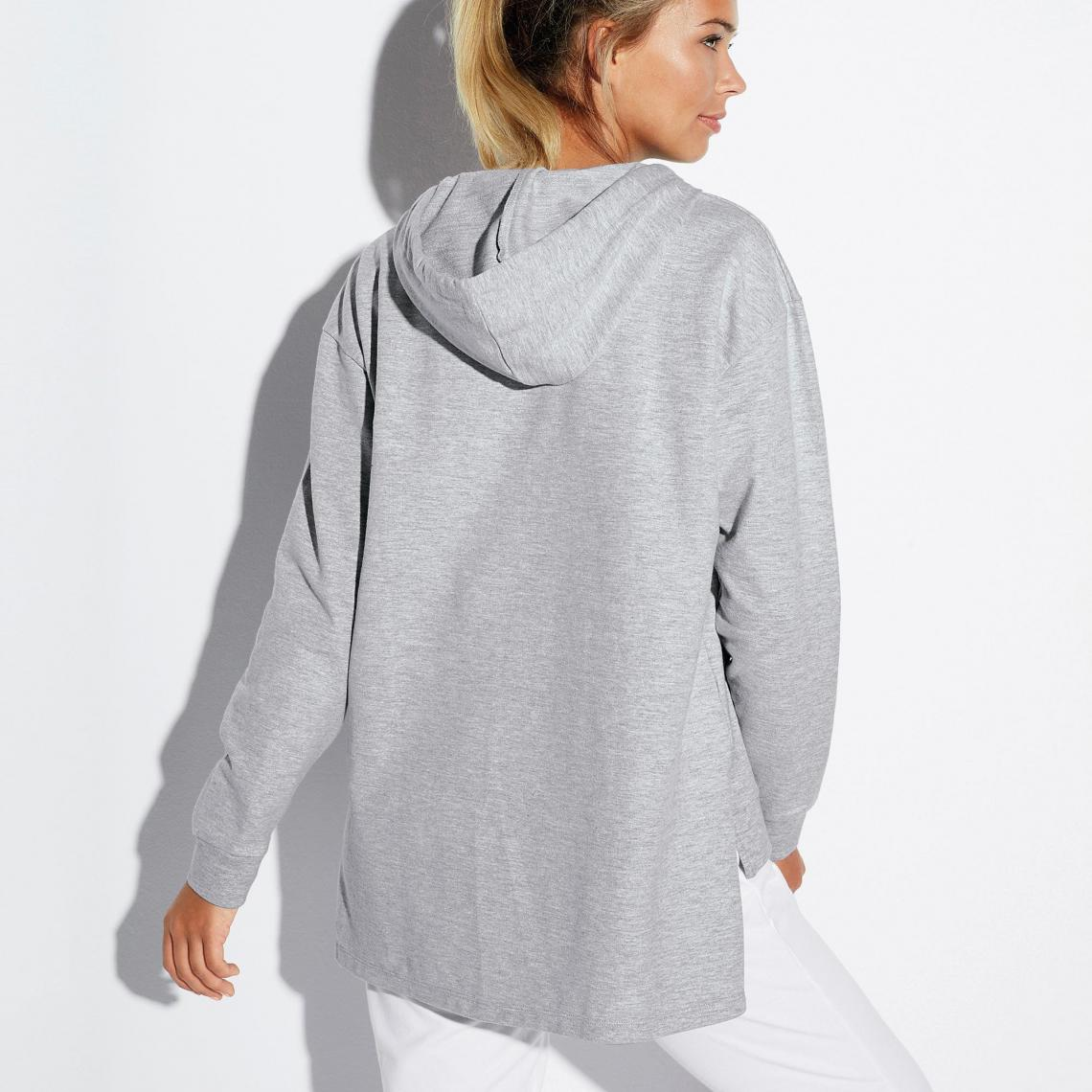 Veste longue avec zip asymétrique gris clair chiné Femme