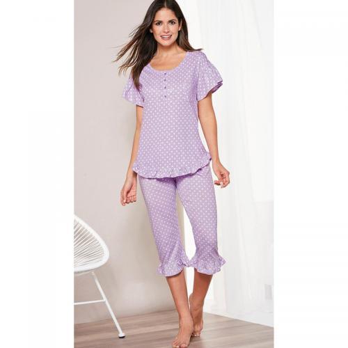 3 SUISSES - Pyjama manches courtes et corsaire volants femme Exclusivité  3SUISSES - Imprimé Lilas - 4e8503c9c66