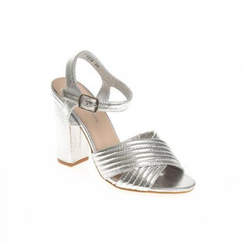 9a8d89895f1038 3 SUISSES - Sandales à talon métallisées bandes croisées femme - argenté - Chaussures  femme