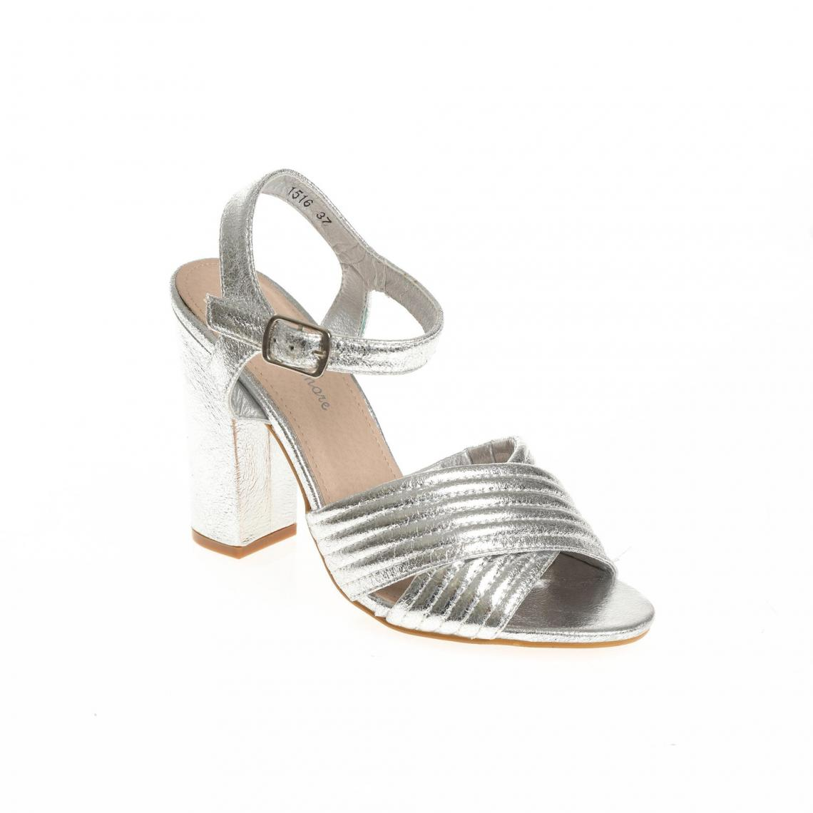 Sandales à talon métallisées bandes croisées femme argenté Plus de détails