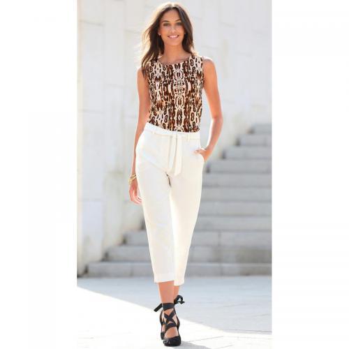 c99a5ef4f6a9 3 SUISSES - Pantalon avec ceinture à nouer et bas fendus femme - écru -  Pantalons